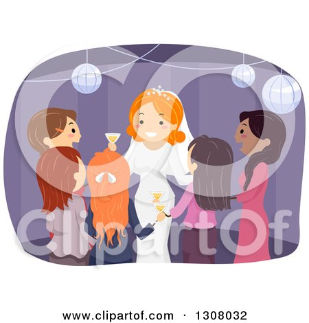 Clipart of a Red Haired White Female Bride Surrounded by Guests at Her Wedding Reception - Royalty Free Vector Illustration by BNP Design Studio