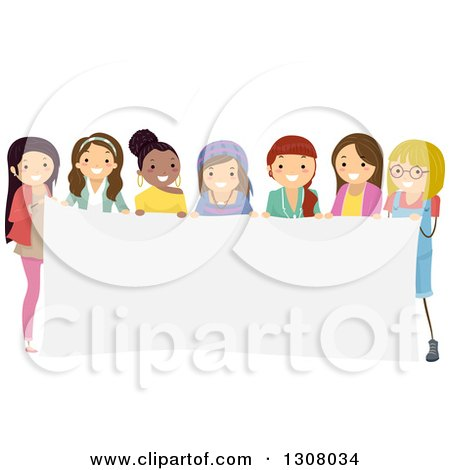 Clipart of a Diverse Group of Teenage Girls Holding a Blank Banner - Royalty Free Vector Illustration by BNP Design Studio