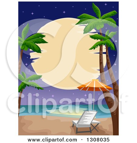 Clipart of a Full Moon over a Tropical Beach with Palm Trees and a Chair - Royalty Free Vector Illustration by BNP Design Studio