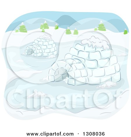 Clipart of a Sketch of Igloos in the Snow - Royalty Free Vector Illustration by BNP Design Studio