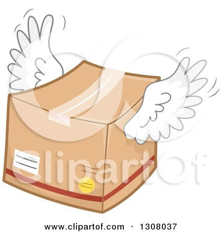 Clipart of a Flying Winged Box - Royalty Free Vector Illustration by BNP Design Studio