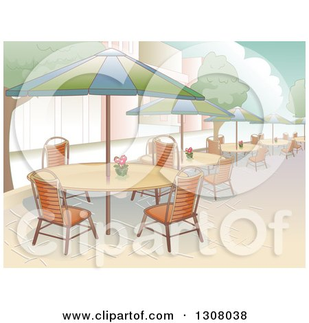 Clipart of a Restaurant Patio Area with Seating and Al Fresco Dining - Royalty Free Vector Illustration by BNP Design Studio