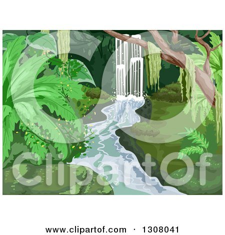 Clipart of a Waterfall in a Lush Tropical Forest - Royalty Free Vector Illustration by BNP Design Studio