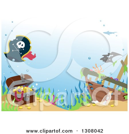 Clipart of a Treasure Chest and Pirate Hat by a Sunken Ship - Royalty Free Vector Illustration by BNP Design Studio