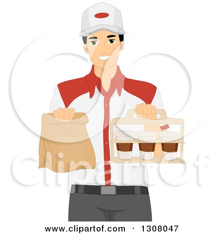 Clipart of a Young Asian Man Holding Takeout Food at a Restaurant - Royalty Free Vector Illustration by BNP Design Studio