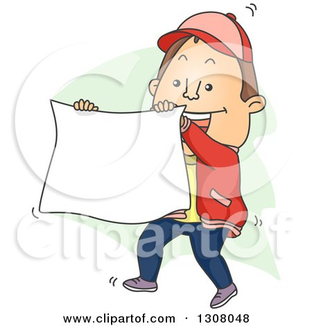 Clipart of a Cartoon Brunette White Man Holding up a Banner - Royalty Free Vector Illustration by BNP Design Studio