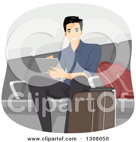 Clipart of a Handsome Young Man Using a Tablet Computer in an Airport Lounge - Royalty Free Vector Illustration by BNP Design Studio