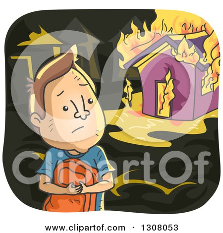 Clipart of a Sad Brunette White Man Watching His House Burn - Royalty Free Vector Illustration by BNP Design Studio