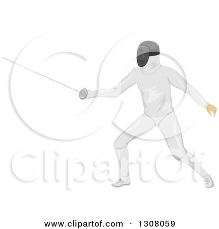 Clipart of a Male Sword Fighter Fencer in Action - Royalty Free Vector Illustration by BNP Design Studio