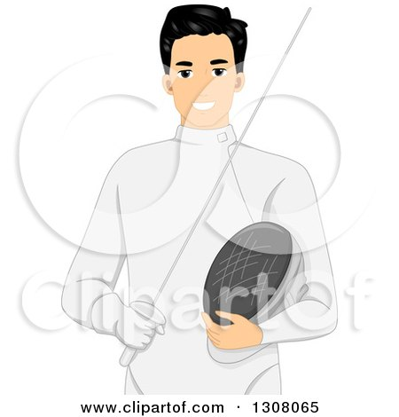 Clipart of a Handsome Young Male Fencer Holding a Stick and Mask - Royalty Free Vector Illustration by BNP Design Studio