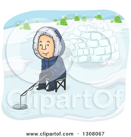 Clipart of a Cartoon White Man Ice Fishing near an Igloo - Royalty Free Vector Illustration by BNP Design Studio