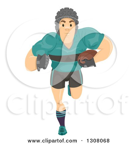 Clipart of a Beefy Caucasian Rugby Player Running - Royalty Free Vector Illustration by BNP Design Studio