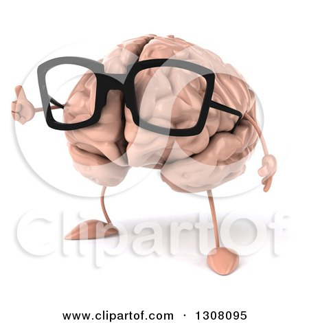 Clipart of a 3d Bespectacled Brain Character Facing Slightly Left and Giving a Thumb up - Royalty Free Illustration by Julos
