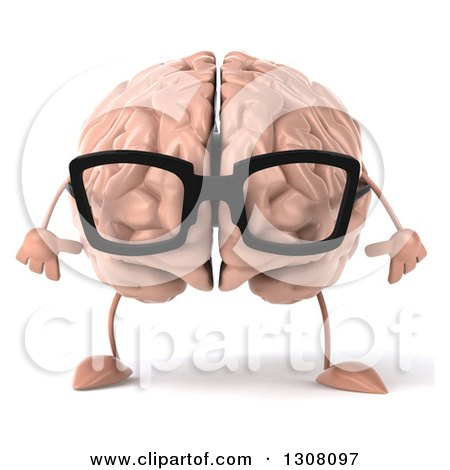 Clipart of a 3d Bespectacled Brain Character - Royalty Free Illustration by Julos