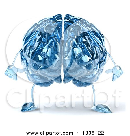 Clipart of a 3d Blue Glass Brain Character - Royalty Free Illustration by Julos
