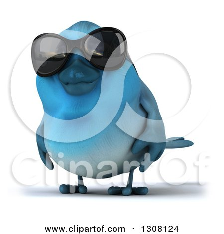Clipart of a 3d Bluebird Wearing Shades - Royalty Free Illustration by Julos