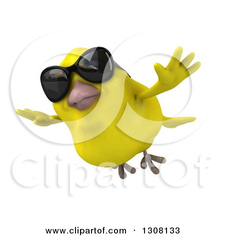 Clipart of a 3d Yellow Bird Wearing Sunglasses and Flying - Royalty Free Illustration by Julos