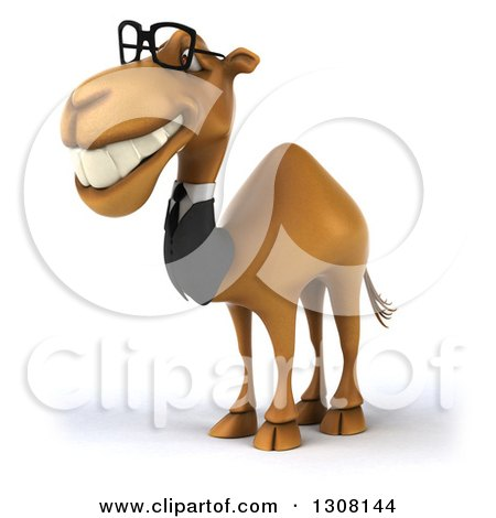 Clipart of a 3d Bespectacled Business Camel Facing Left 3 - Royalty Free Illustration by Julos
