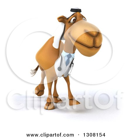 Clipart of a 3d Arabian Doctor Camel Walking - Royalty Free Illustration by Julos