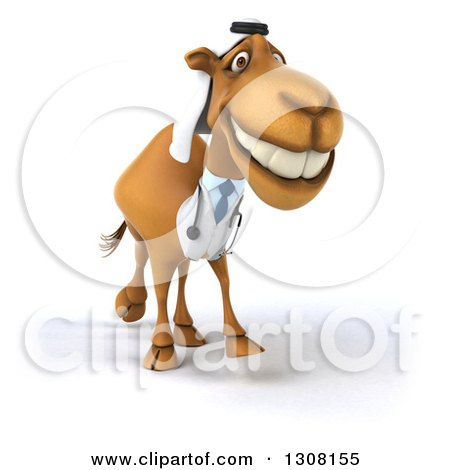 Clipart of a 3d Arabian Doctor Camel Walking Slightly Right - Royalty Free Illustration by Julos