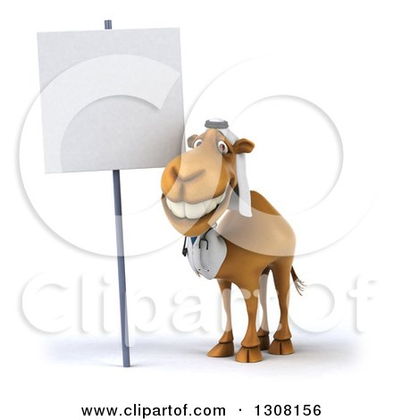 Clipart of a 3d Arabian Doctor Camel by a Blank Sign - Royalty Free Illustration by Julos
