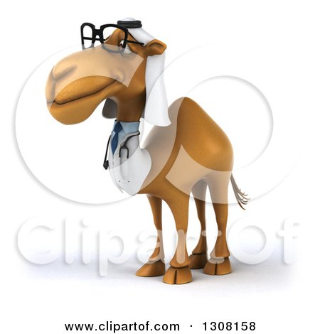 Clipart of a 3d Bespectacled Arabian Doctor Camel Facing Left - Royalty Free Illustration by Julos