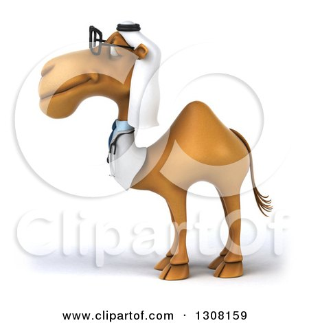 Clipart of a 3d Bespectacled Arabian Doctor Camel Facing Left 2 - Royalty Free Illustration by Julos