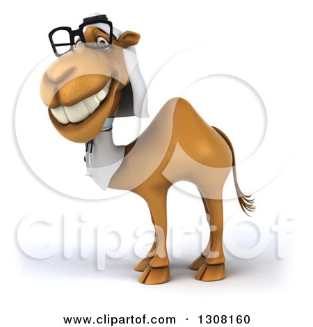 Clipart of a 3d Bespectacled Arabian Doctor Camel Facing Left 3 - Royalty Free Illustration by Julos