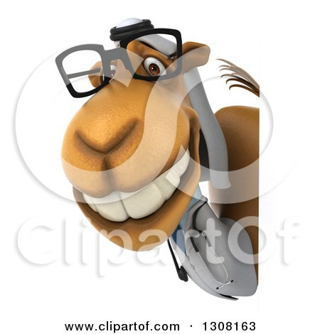 Clipart of a 3d Bespectacled Arabian Doctor Camel Smiling Around a Sign - Royalty Free Illustration by Julos