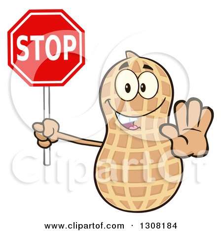Clipart of a Happy Peanut Mascot Character Gesturing and Holding a Stop Sign - Royalty Free Vector Illustration by Hit Toon