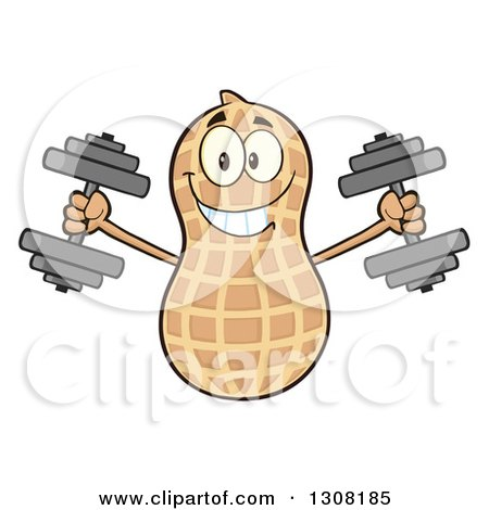Clipart of a Happy Peanut Mascot Character Working out with Dumbbells - Royalty Free Vector Illustration by Hit Toon