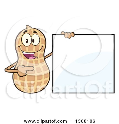 Clipart of a Happy Peanut Mascot Character Holding and Pointing to a Blank Sign - Royalty Free Vector Illustration by Hit Toon