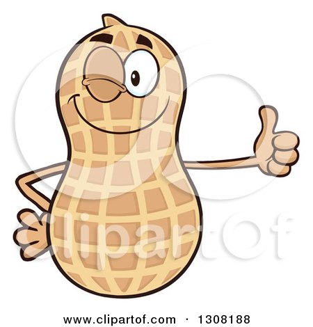 Clipart of a Happy Peanut Mascot Character Winking and Giving a Thumb up - Royalty Free Vector Illustration by Hit Toon