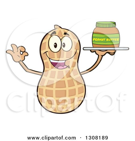 Clipart of a Happy Peanut Mascot Character Gesturing Ok and Holding a Jar of Peanut Butter on a Tray - Royalty Free Vector Illustration by Hit Toon