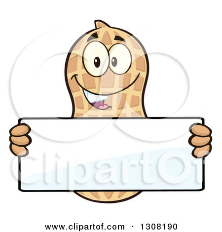 Clipart of a Happy Peanut Mascot Character Holding a Blank Sign - Royalty Free Vector Illustration by Hit Toon