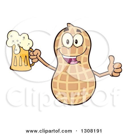 Clipart of a Happy Peanut Mascot Character Giving a Thumb up and Holding a Beer - Royalty Free Vector Illustration by Hit Toon