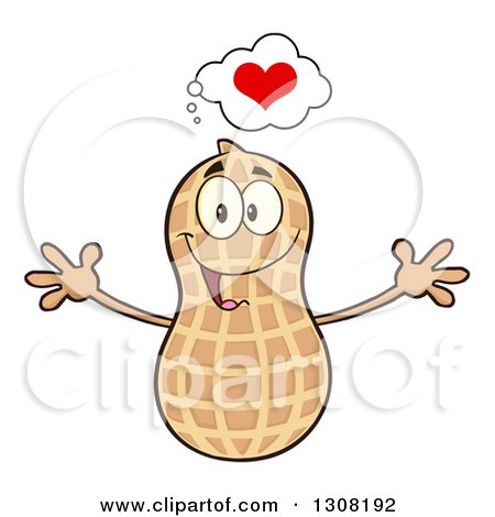 Clipart of a Happy Peanut Mascot Character with a Heart and Open Arms - Royalty Free Vector Illustration by Hit Toon