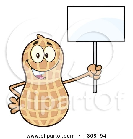 Clipart of a Happy Peanut Mascot Character Holding up a Blank Sign - Royalty Free Vector Illustration by Hit Toon