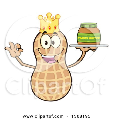 Clipart of a Happy King Peanut Mascot Character Gesturing Ok and Holding a Jar of Peanut Butter on a Tray - Royalty Free Vector Illustration by Hit Toon