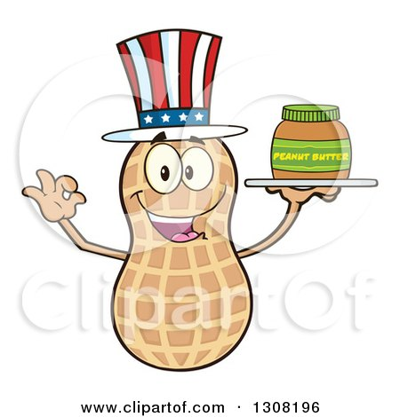 Clipart of a Happy American Peanut Mascot Character Gesturing Ok and Holding a Jar of Peanut Butter on a Tray - Royalty Free Vector Illustration by Hit Toon