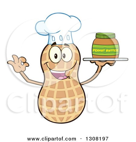Clipart of a Happy Chef Peanut Mascot Character Gesturing Ok and Holding a Jar of Peanut Butter on a Tray - Royalty Free Vector Illustration by Hit Toon