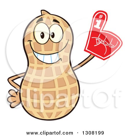 Clipart of a Happy Peanut Mascot Character Wearing a Foam Finger - Royalty Free Vector Illustration by Hit Toon