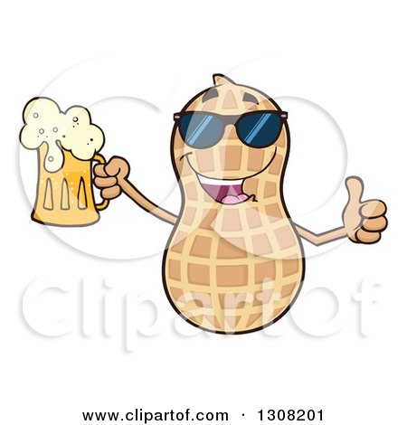 Clipart of a Happy Peanut Mascot Character Wearing Sunglasses, Giving a Thumb up and Holding a Beer - Royalty Free Vector Illustration by Hit Toon