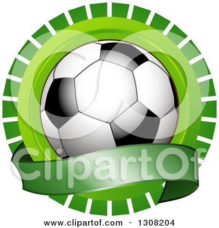 Clipart Of A Shiny Soccer Ball Over A Blank Banner Over A Green Burst Royalty Free Vector Illustration