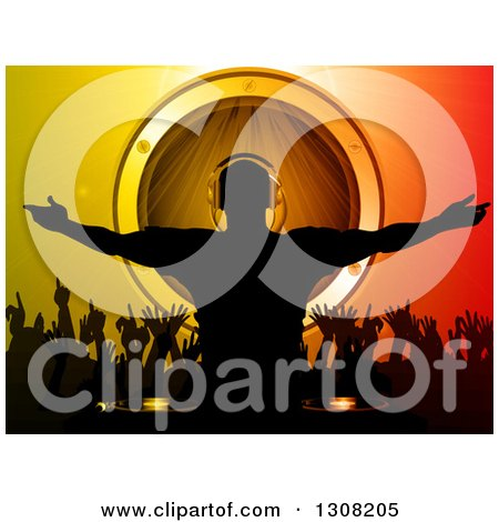 Clipart of a Silhouetted Male Dj over Dancing Fans and a Music Speaker on Gradient - Royalty Free Vector Illustration by elaineitalia