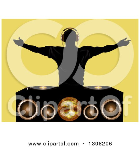Clipart of a Silhouetted Male Dj Wearing Headphones and Holding His Arms Wide over a Turn Table, Speakers and Disco Ball over Yellow - Royalty Free Vector Illustration by elaineitalia