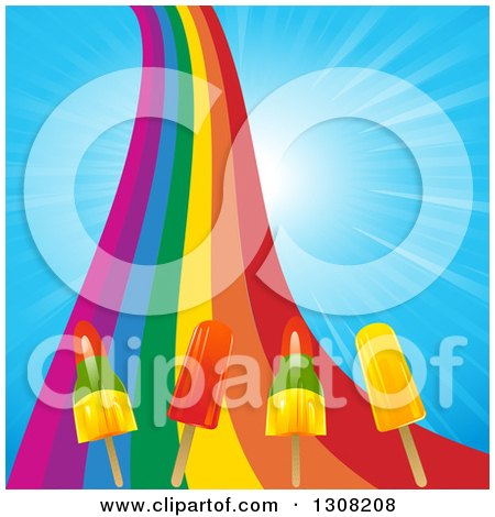 Clipart of a Rainbow with Popsicles over a Blue Sunny Sky - Royalty Free Vector Illustration by elaineitalia