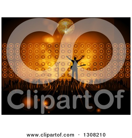 Clipart of a Silhouetted Male Rock Star Musician Cheering on Stage with Fans Against Flares, Speakers and a Disco Ball - Royalty Free Vector Illustration by elaineitalia