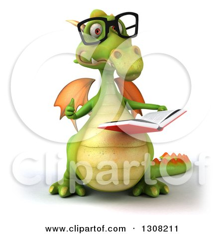 Clipart of a 3d Bespectacled Green Dragon Giving a Thumb up and Reading a Book - Royalty Free Illustration by Julos