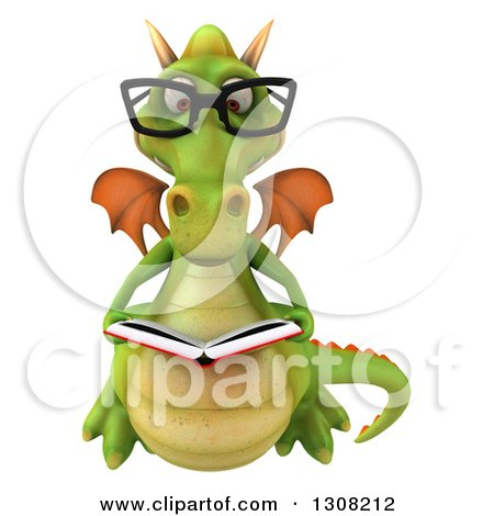 Clipart of a 3d Bespectacled Green Dragon Reading a Book - Royalty Free Illustration by Julos